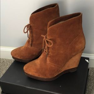 KORS Michael Kors suede above ankle wedge bootie